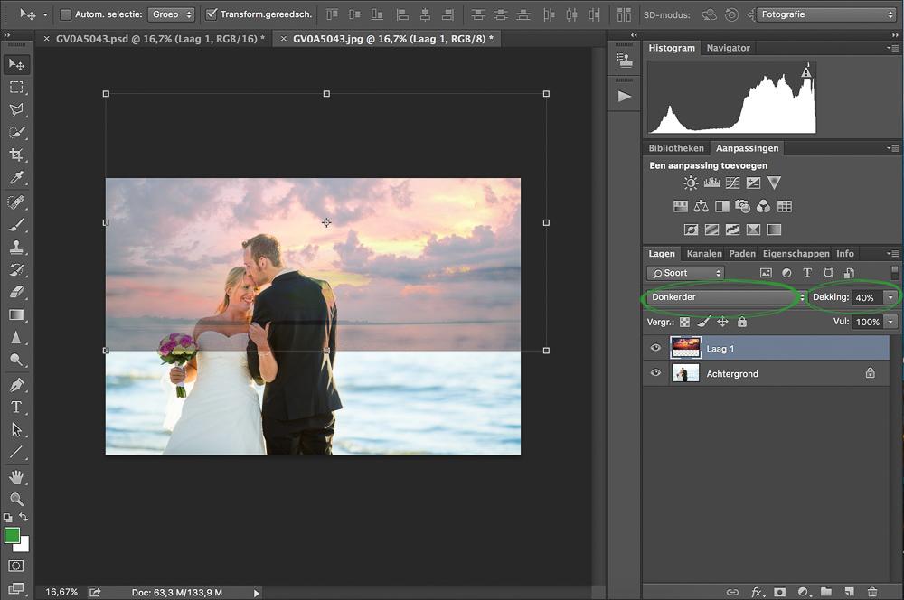 Vervangen van wolken in Adobe Photoshop