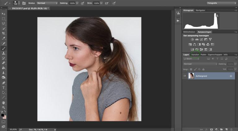Kies voor een portret foto met een witte achtergrond