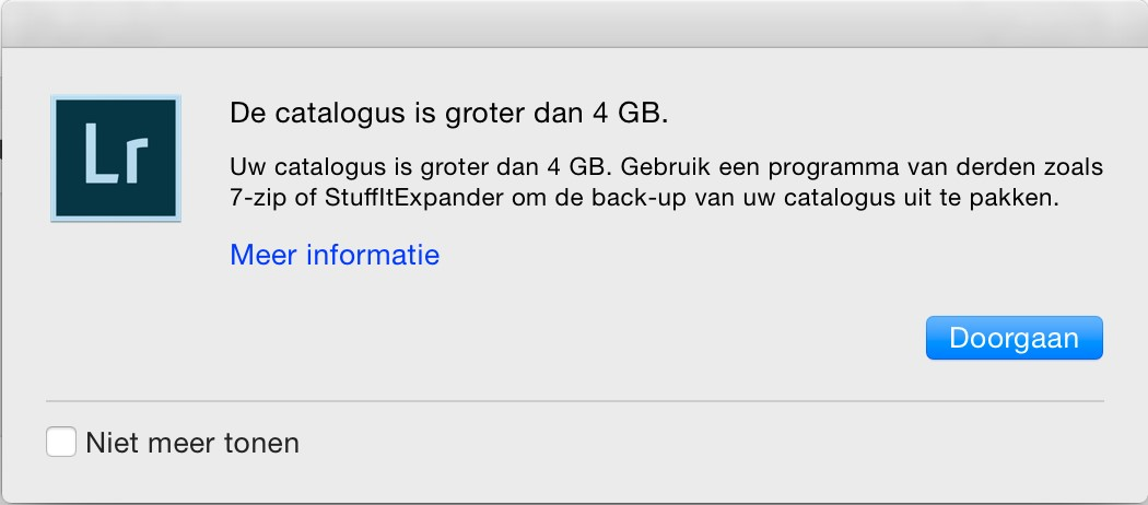adobe lightroom melding catalogus te groot 4 gb