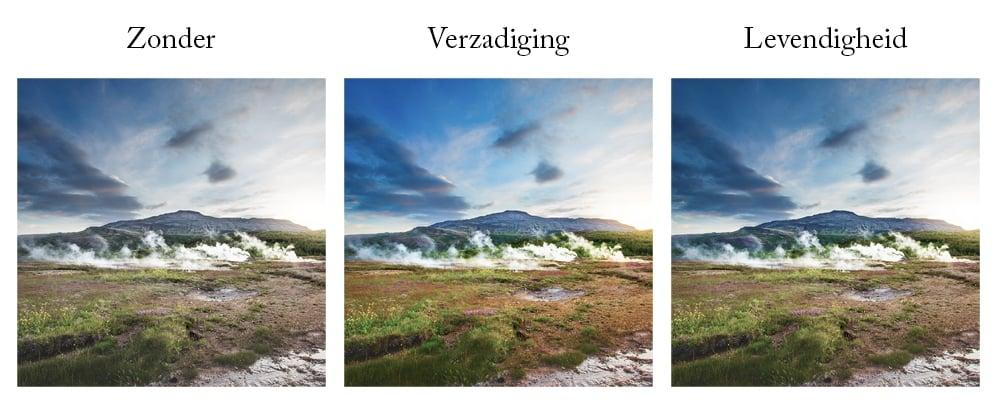 Landschapsfoto met verzadiging en levendigheid