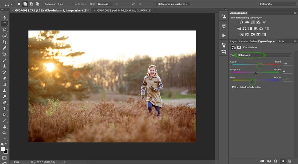 03 zonsondergang versterken in photoshop