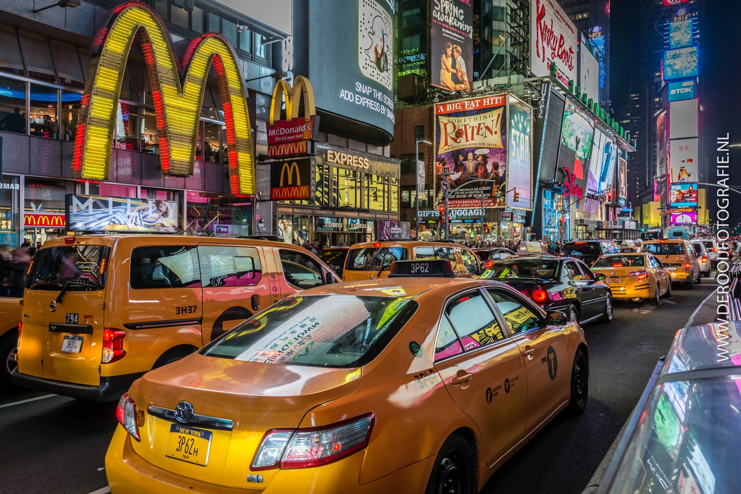 Mooiste foto's New York - Yellow cabs op Time Square