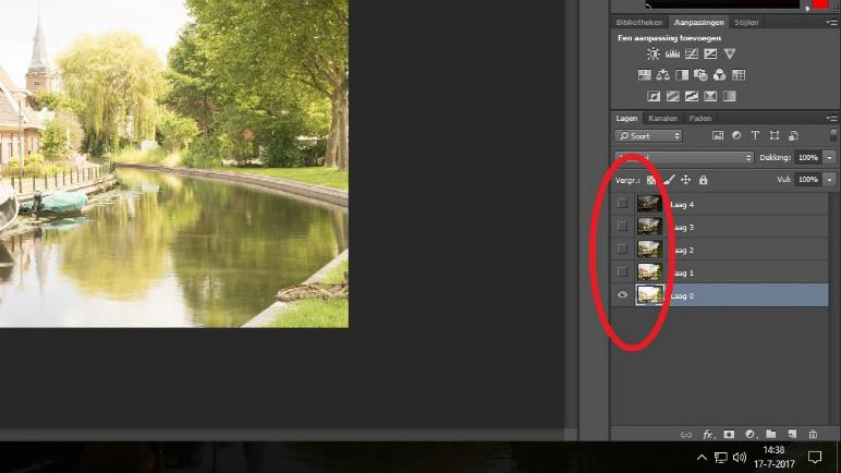 Lagen in Photoshop uitschakelen