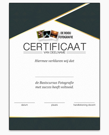 Certificaat Fotocursus