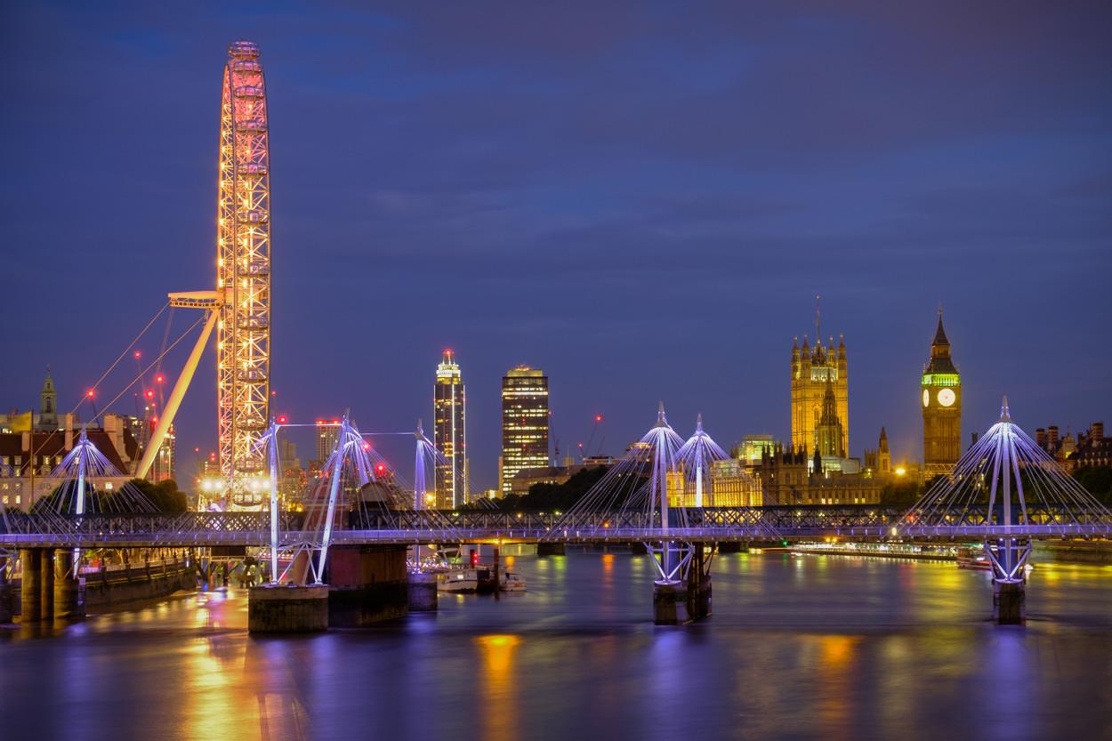 Mooiste foto's van Londen - Avondfoto skyline met Londen Eye