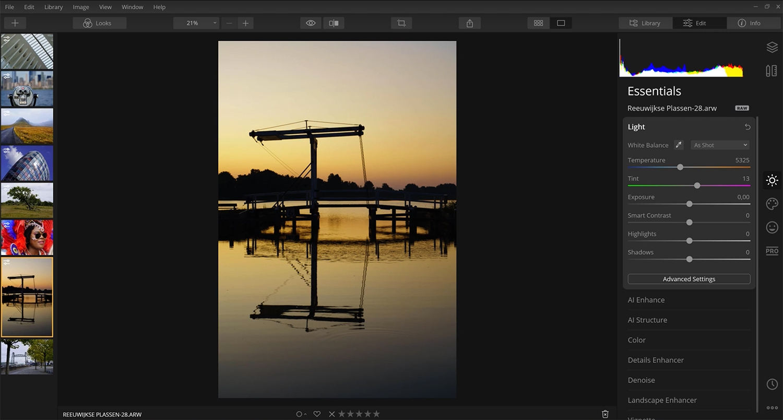 raw foto's bewerken met luminar 4