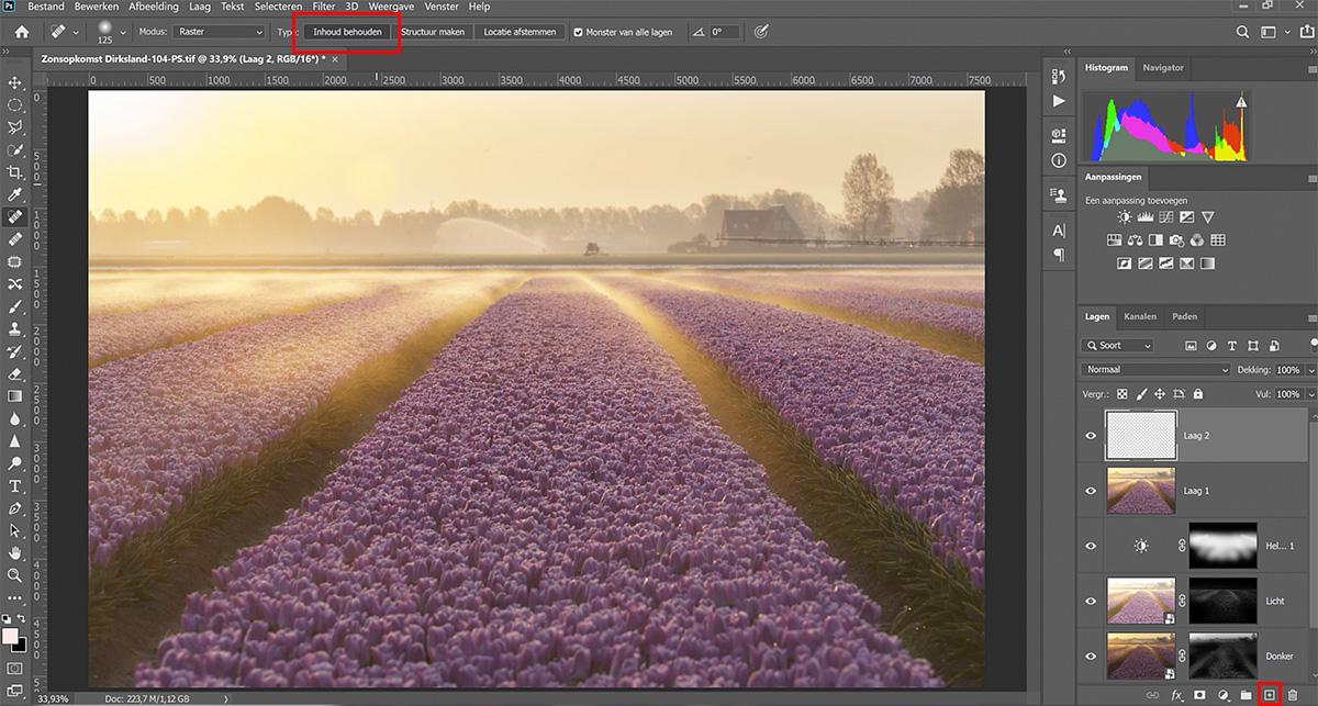 objecten verwijderen in photoshop met het retoucheerpenseel