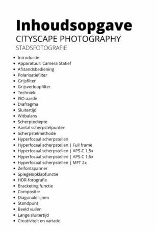 Inhoudsopgave cityscape photography stadsfotografie ebook