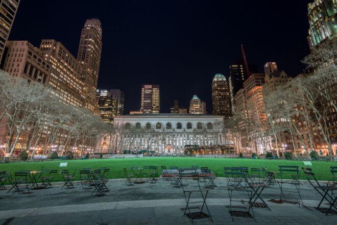 Avondfoto Bryant Park New York City