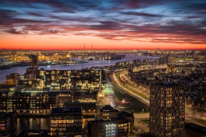 Skyline Rotterdamse Haven vanaf de Euromast