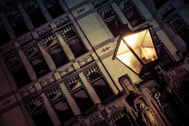 Sfeervolle avondfoto lantaarn bij het Witte Huis