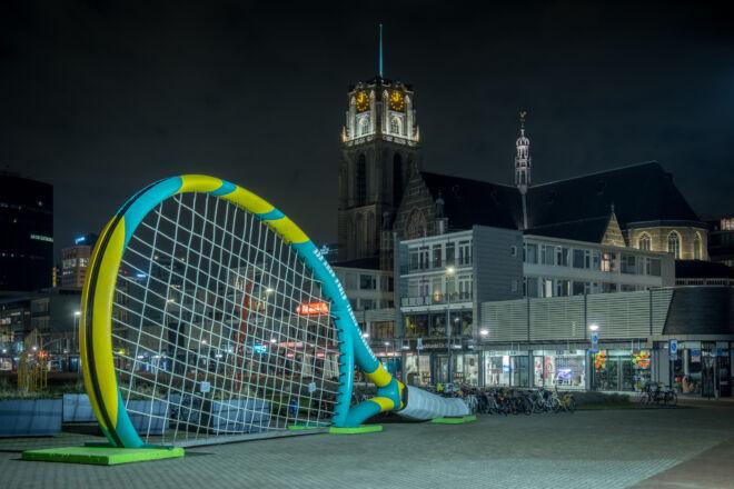 ABN Amro tennistoernooi in Rotterdam met de Laurenskerk