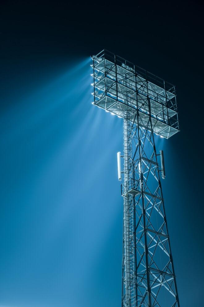 Lichtmast van stadion De Kuip in Rotterdam