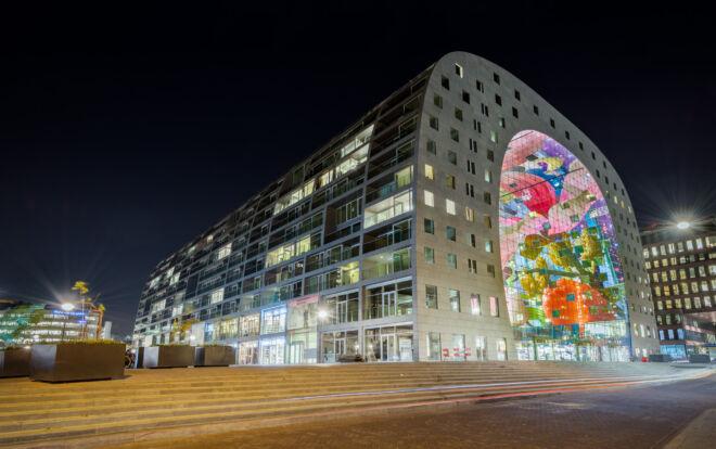 Mooiste avondfoto's Markthal in Rotterdam