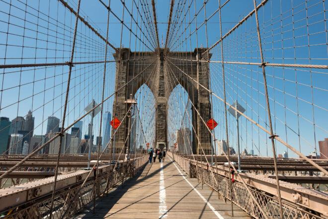 Foto op de Brooklyn Bridge in New York