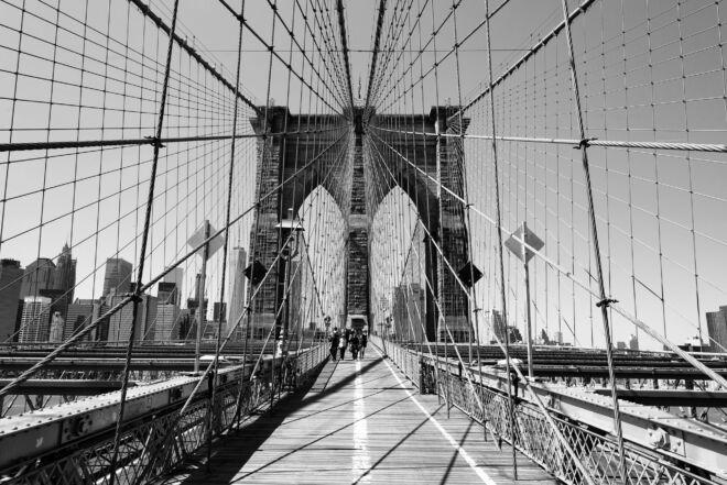 Foto op Brooklyn Bridge New York (zwart-wit)