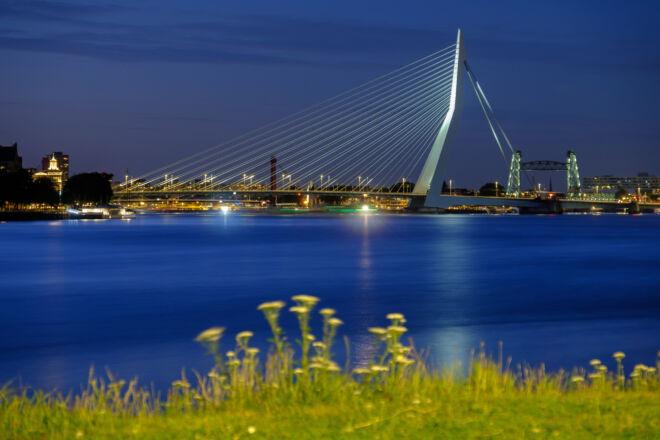 De Erasmusbrug tijdens het blauwe uur
