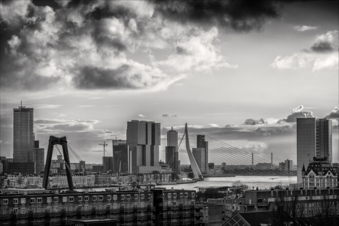 Mooiste skyline foto van Rotterdam in zwart-wit