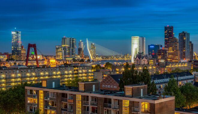 Mooiste skyline avondfoto's Rotterdam