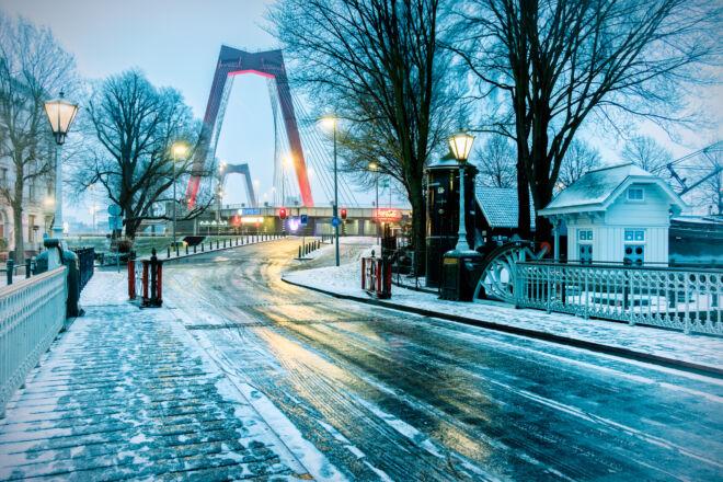 Mooiste winterfoto's Rotterdam - Spanjaardsbrug en Willemsbrug