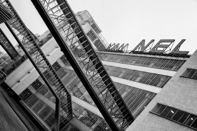 Zwart-wit foto Van Nellefabriek Rotterdam