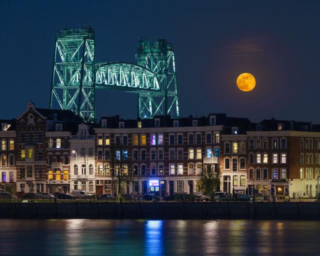Avondfoto De Hef met de volle maan