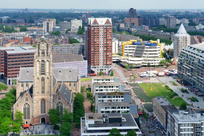 Skyline foto Rotterdam Blaak en Laurenskerk