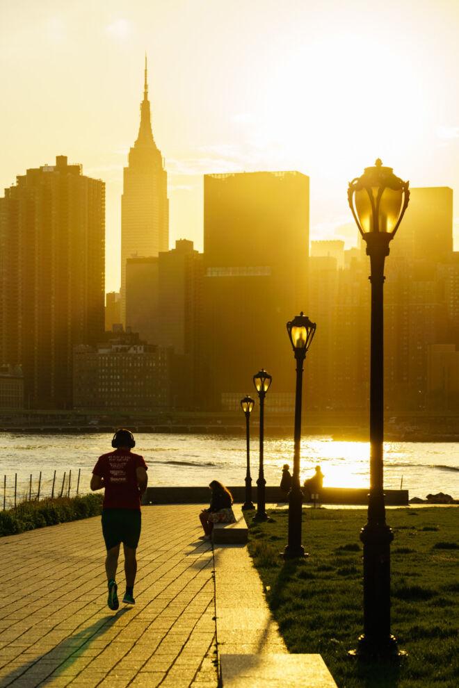 Mooiste zonsondergang foto Manhattan New York