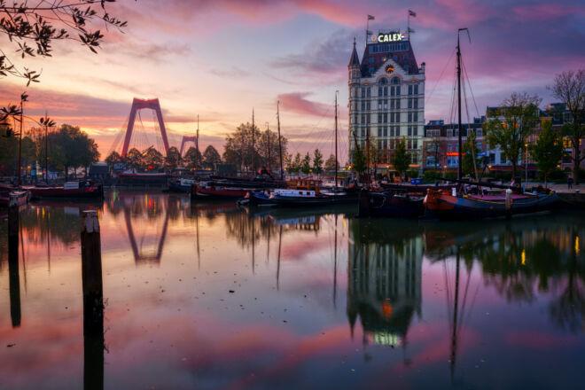 Mooiste zonsopkomstfoto Oude Haven in Rotterdam