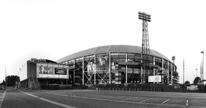 Zwart-wit foto Stadion De Kuip van Feyenoord
