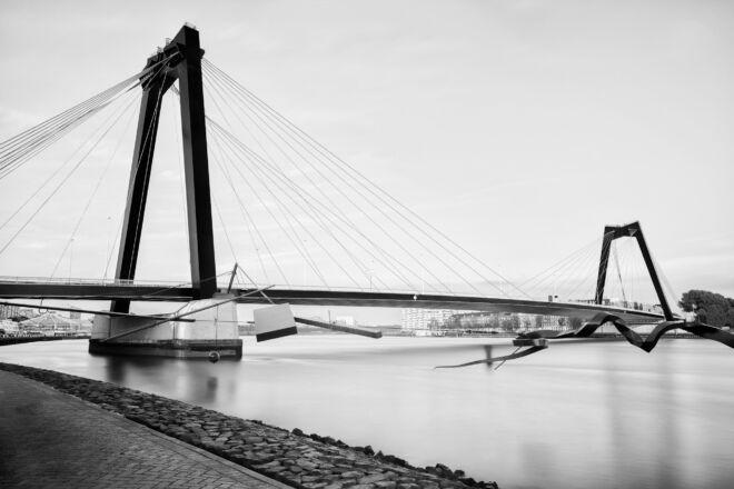 Mooiste zwart-wit foto van de Willemsbrug in Rotterdam