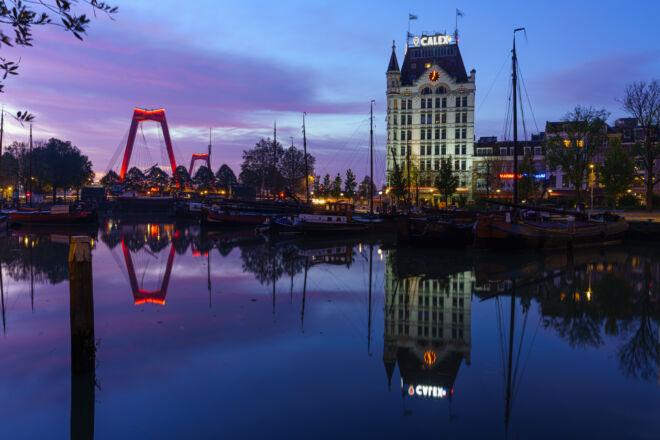 Mooiste ochtendfoto Oude Haven in Rotterdam