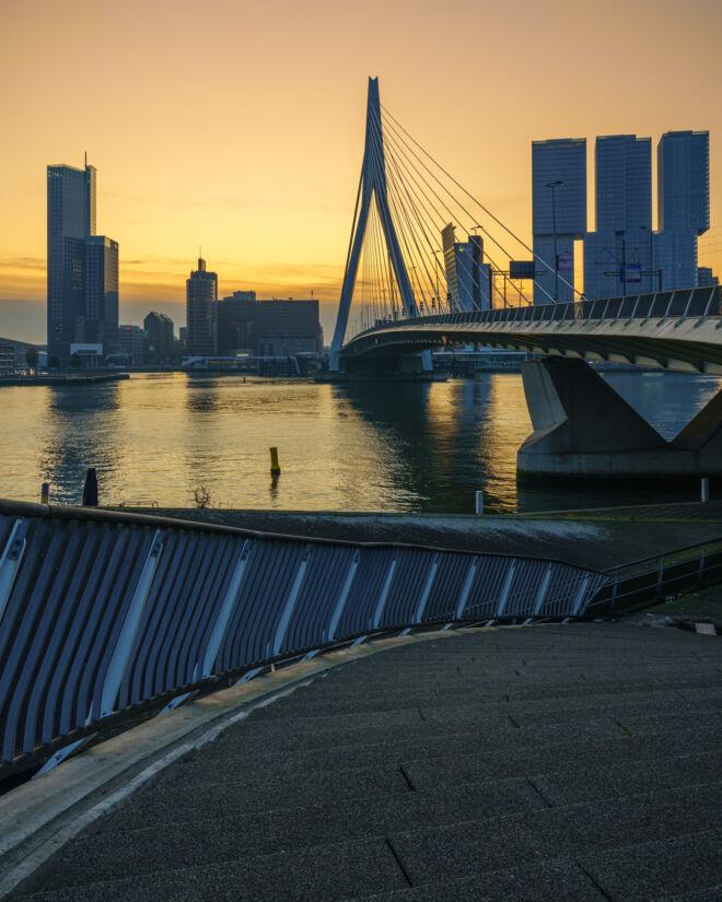 Mooiste zonsopkomst foto's Erasmusbrug in Rotterdam