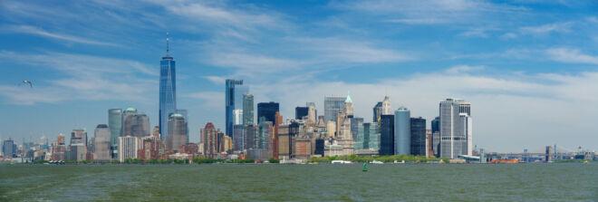 Skyline Manhattan vanaf Staten Island Ferry