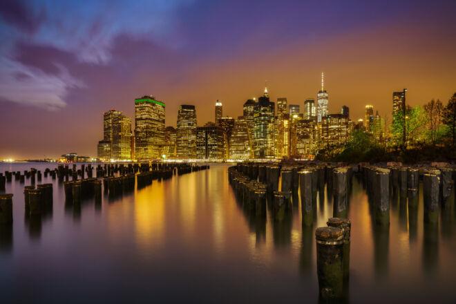 Spectaculaire nachtfoto skyline New York