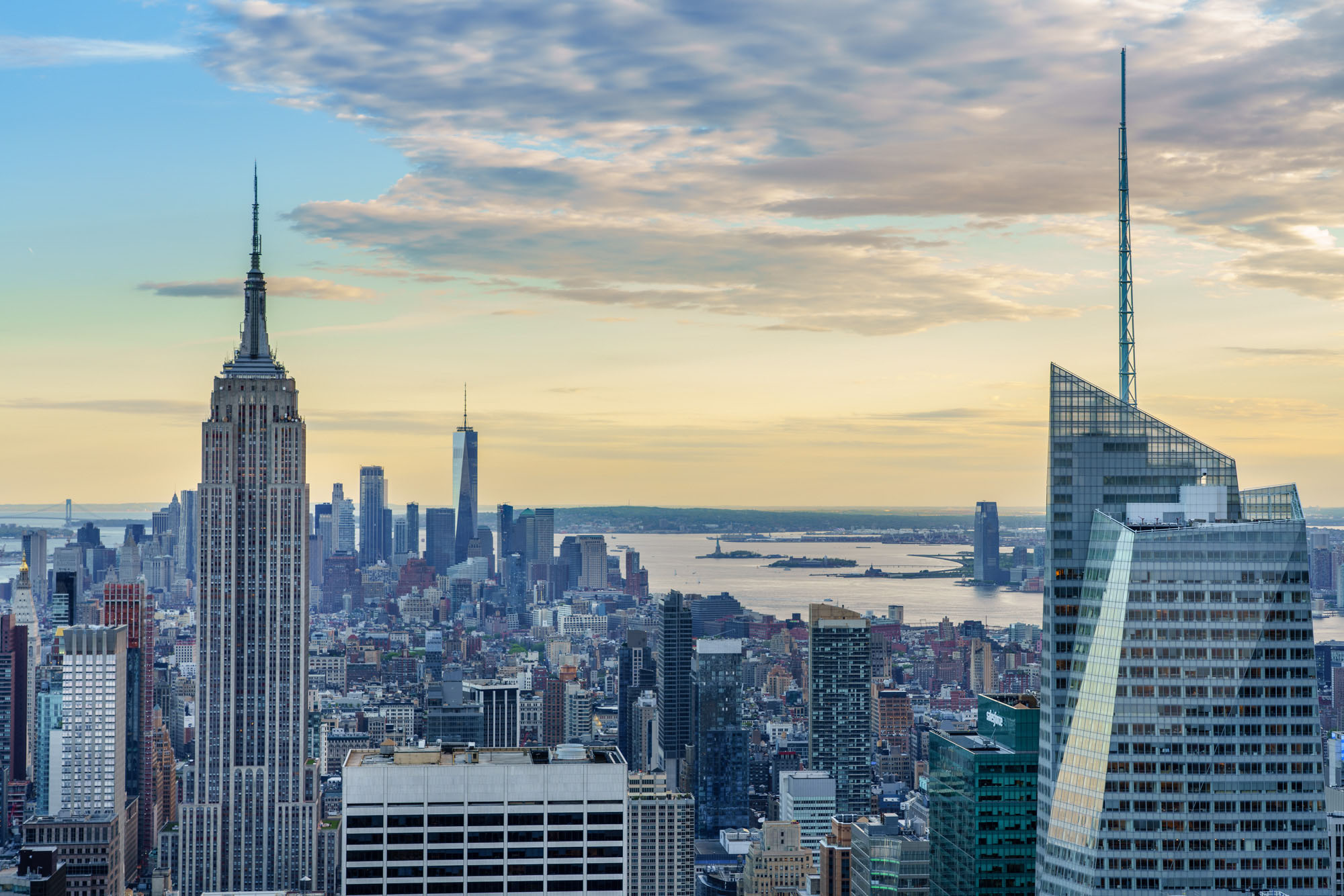 Zonsondergang New York vanaf Top of the Rock