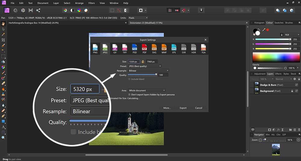 Hoe kan je een foto exporteren in Affinity Photo
