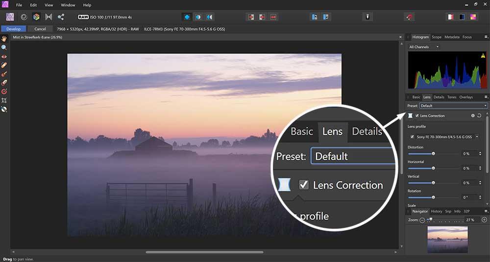 Lenscorrecties toepassen in de beste Affinity Photo cursus