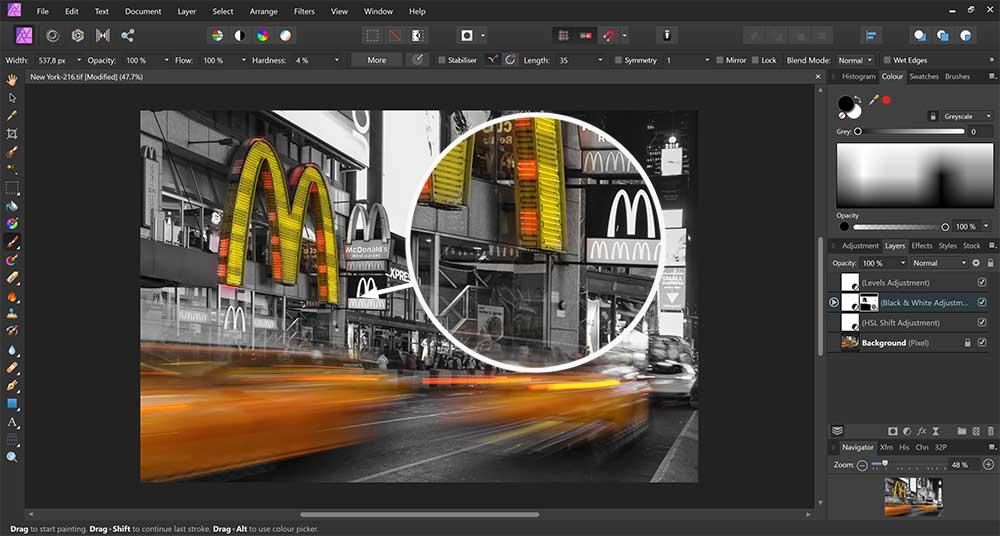 Hoe maak je selectief zwart-wit foto's in Affinity Photo