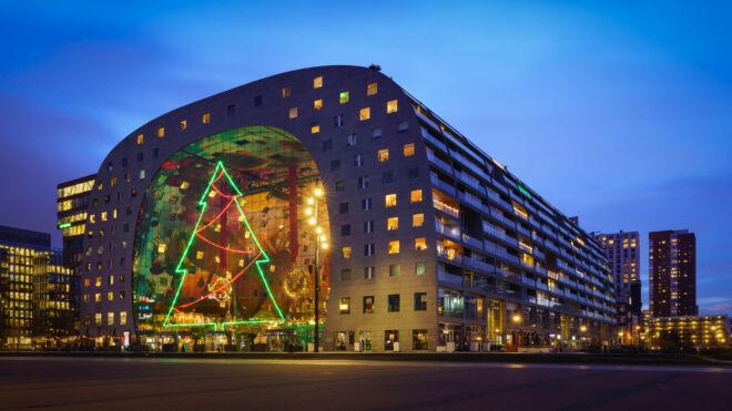 Kerstboom op de Markthal in Rotterdam