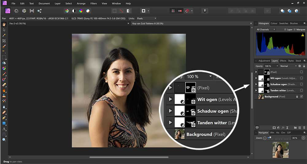 Tanden witter maken in Affinity Photo