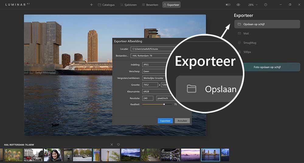 Hoe kan je foto's exporteren in LuminarAI
