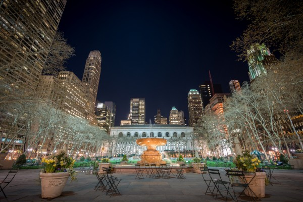 038. Bryant Park with Fountain by Night, New York