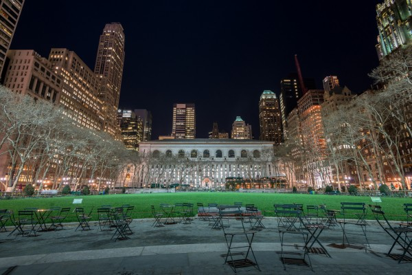 037. Public Library at Bryant Park by Night, New York