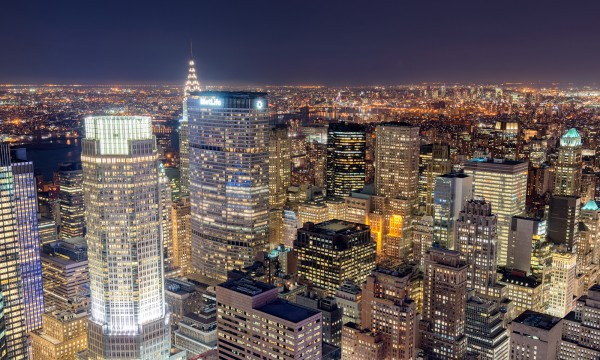 039. Midtown East by Night from Rockefeller Center, New York