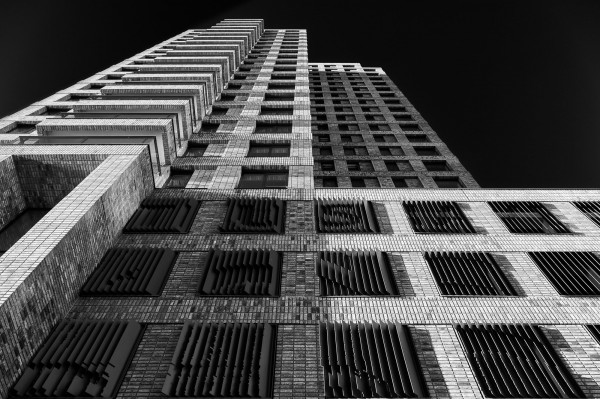 198. Boston woontoren in zwart-wit