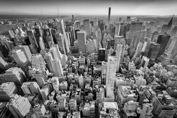 025. New York City view from Empire State Building, New York (black & white)