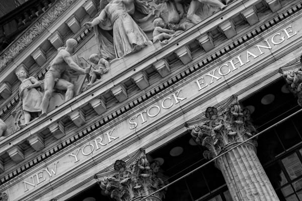 034. New York Stock Exchange at Wall Street, New York (black & white)