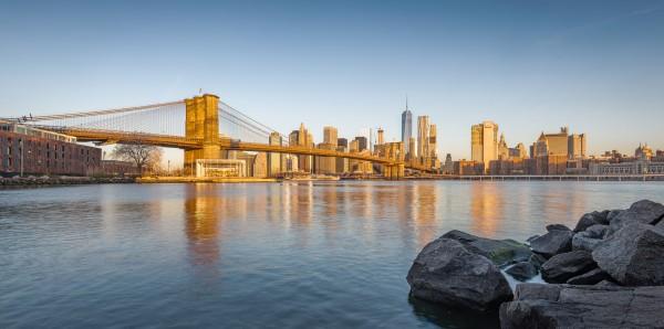 036. Sunrise Skyline Manhattan and Brooklyn Bridge from Brooklyn, New York